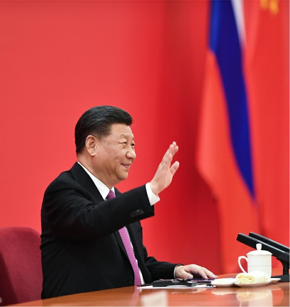 12月2日,国家主席习近平在北京同俄罗斯总统普京视频连线,共同见证中俄东线天然气管道投产通气仪式。新华社记者 谢环驰 摄