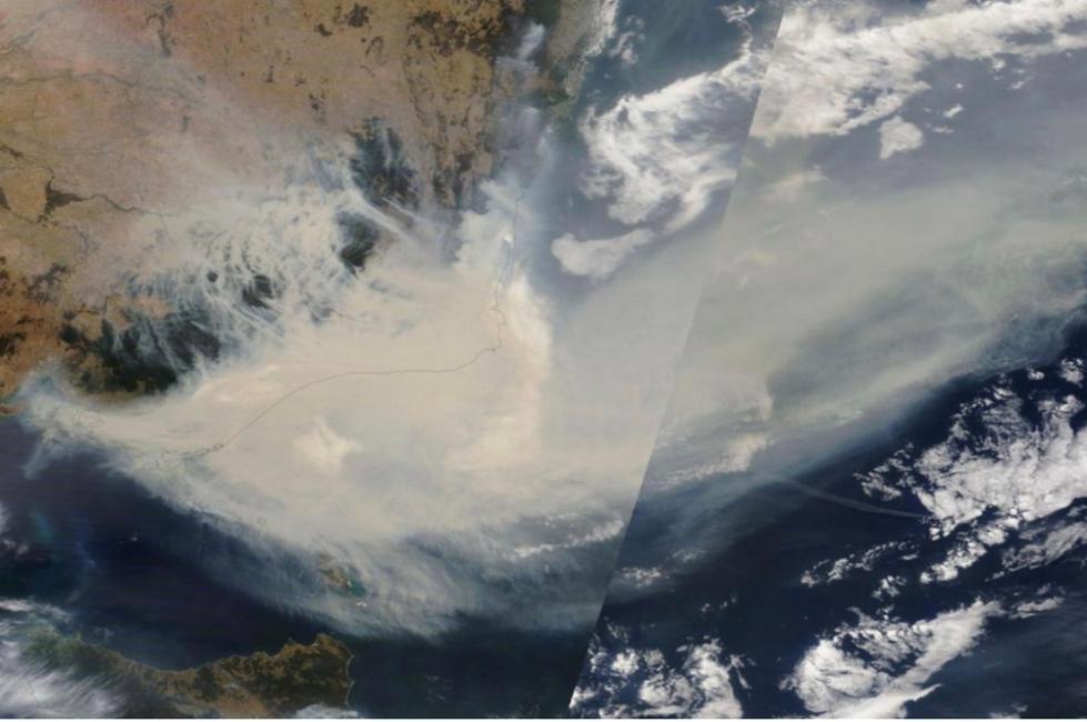 「央视新闻客户端」NASA:澳洲林火烟雾至少绕地球飘移一圈
