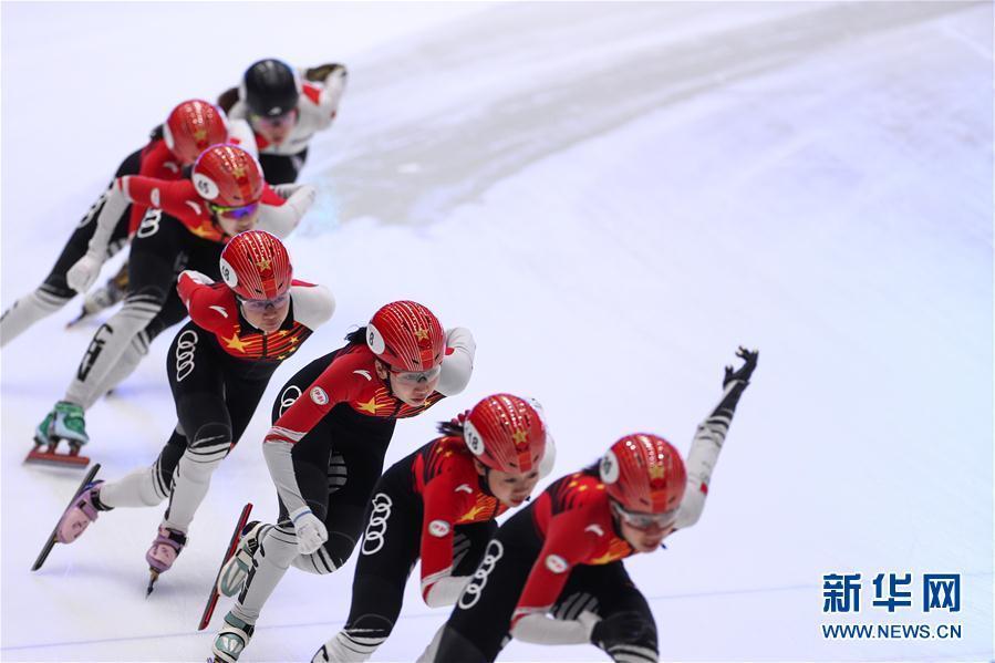 [新华网]短道速滑世界杯多德雷赫特站:中国队进行赛前训练