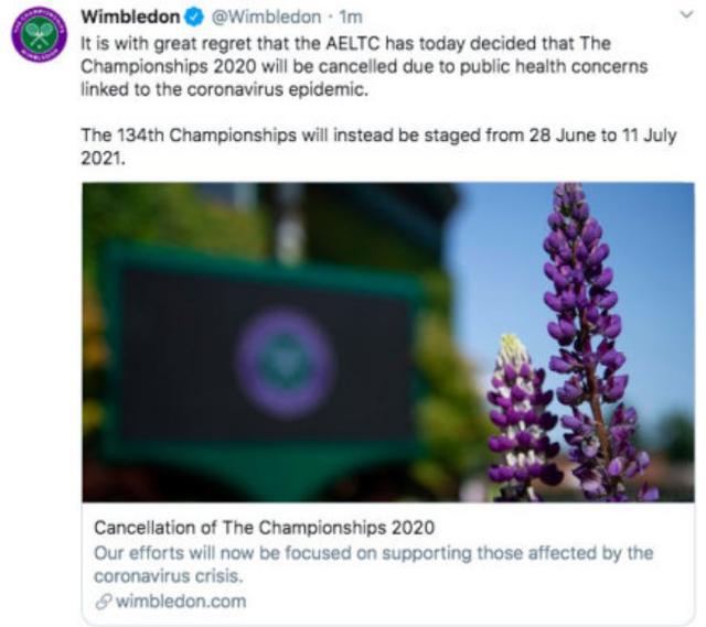 「文汇报」2020年温网因疫情取消,今年网球四大满贯难道只有澳网?
