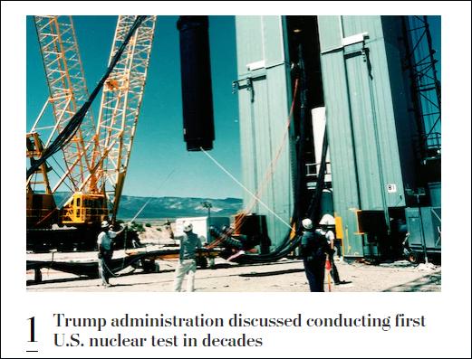 《华盛顿邮报》:特朗普政府讨论核试验