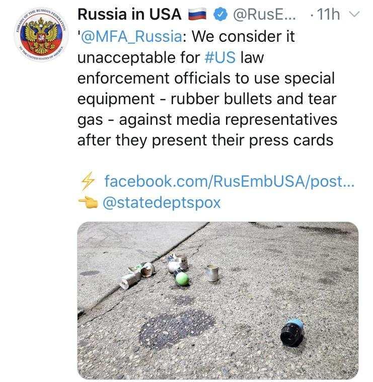 俄罗斯驻美使馆社交媒体截图