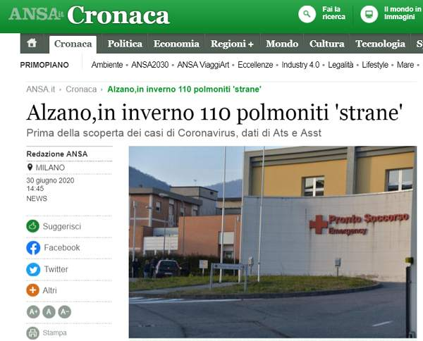 意大利去年9月或已存在新冠病毒!钟南山公布一个新数字