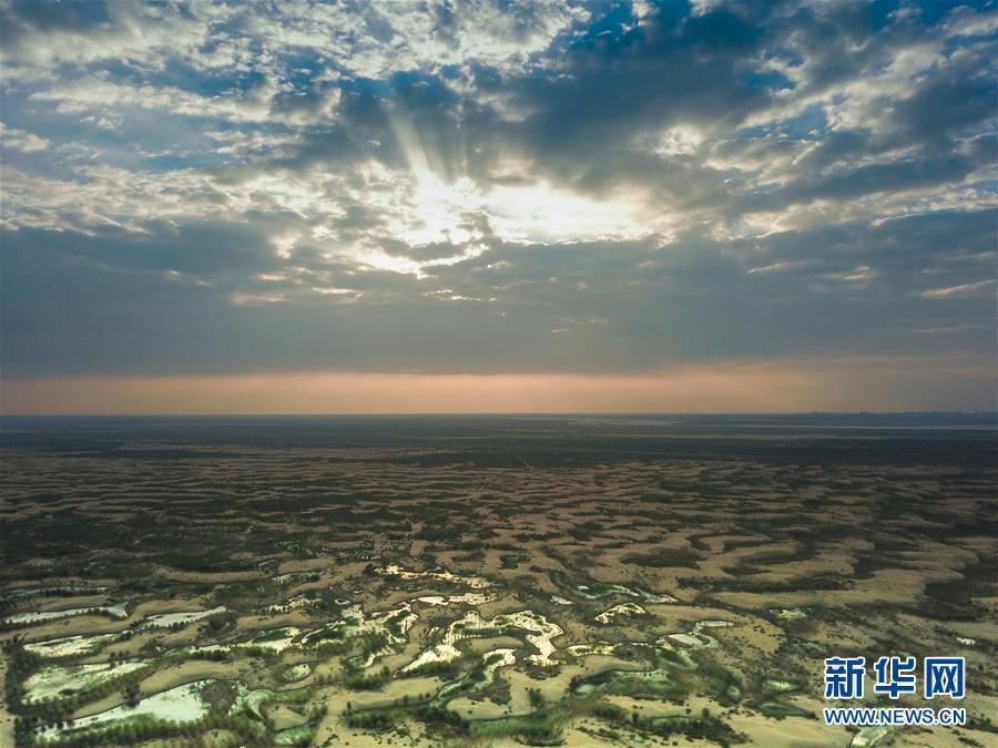 """内蒙古库布其沙漠现""""水沙共存""""景观!"""