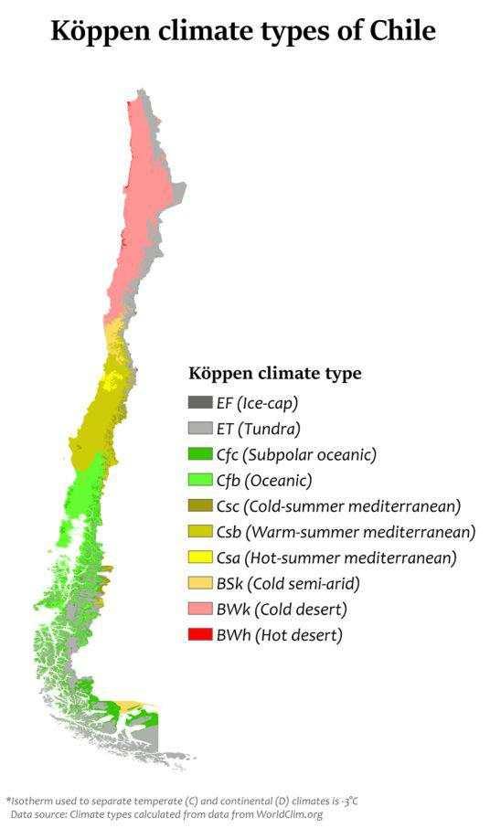 智利共有10种主要类型气候 (图片来源:维基百科)