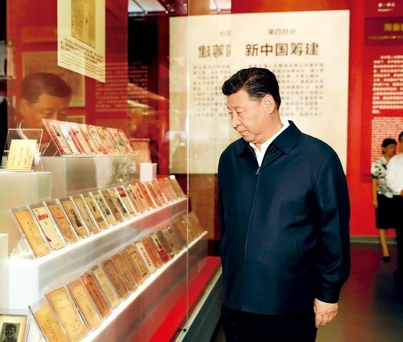 2019年9月12日,習近平在香山革命紀念館參觀《為新中國奠基》主題展覽。新華社記者 黃敬文 攝