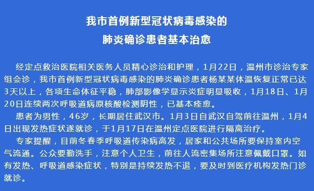 温州首例新型肺炎确诊患者基本痊愈