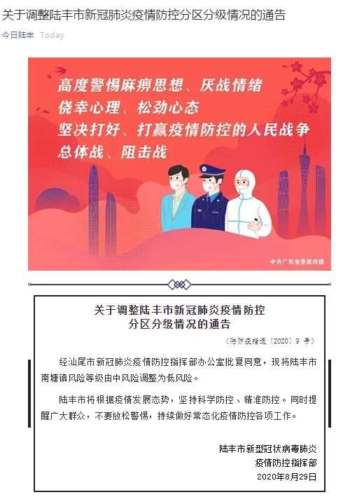 今日陆丰微信公号|广东陆丰南塘镇疫情风险等级由中风险调整为低风险