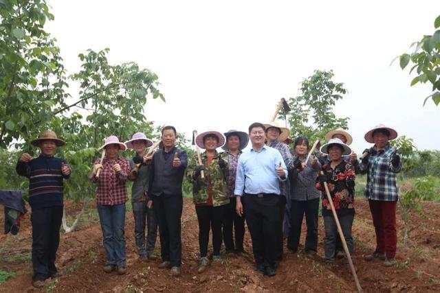 张国华(中)带领员工一起耕种